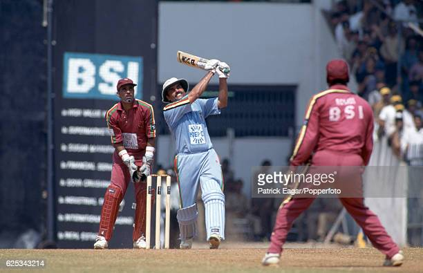 Dilip Vengsarkar batting during his innings of 105 not out for India Masters watched by Jeff Dujon and Viv Richards of West indies Masters in the...
