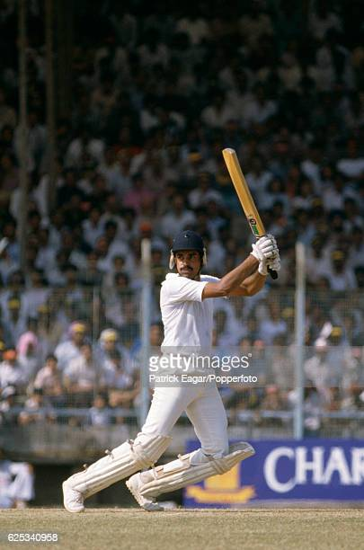 Dilip Vengsarkar batting for India during his innings of 105 in the 1st Charminar Challenge Cup One Day International between India and England at...