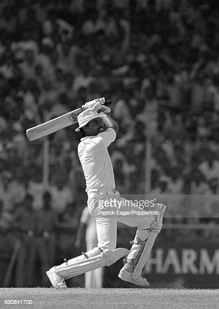 Dilip Vengsarkar batting for India during his innings of 105 in the 1st One Day International between India and England at Nehru Stadium Pune India...
