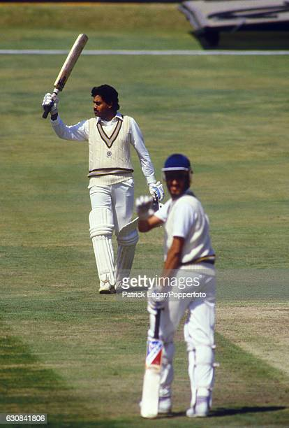 Dilip Vengsarkar of India celebrates reaching his century during his innings of 102 not out in the 2nd Test match between England and India at...