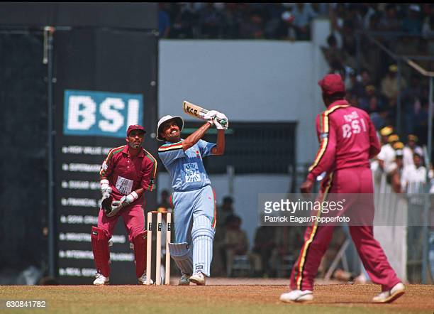 Dilip Vengsarkar of India Masters hits Viv Richards of West Indies Masters for 6 runs during Brabourne Stadium Bombay India 12th March 1995 The...
