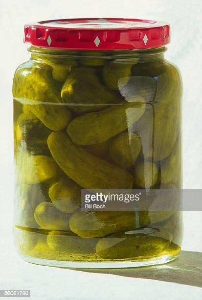 Dill pickles in jar