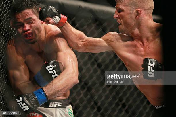Dillashaw punches Renan Barao in their UFC bantamweight championship bout during the UFC event at the United Center on July 25 2015 in Chicago...