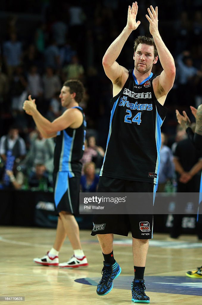 Dillon Boucher of the Breakers applauds the crowd following game one of the NBL Semi Final series between the New Zealand Breakers and the Sydney...