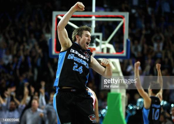 Dillon Boucher of the Breakers celebrates on full time during game three of the NBL Grand Final series between the New Zealand Breakers and the Perth...
