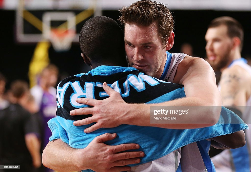 Dillon Boucher of the Breakers celebrates with a teammate after victory during game two of the NBL Semi Final series between the Sydney Kings and the...