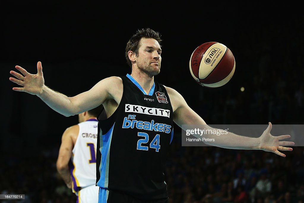 Dillon Boucher of the Breakers collects the ball during game one of the NBL Semi Final series between the New Zealand Breakers and the Sydney Kings...