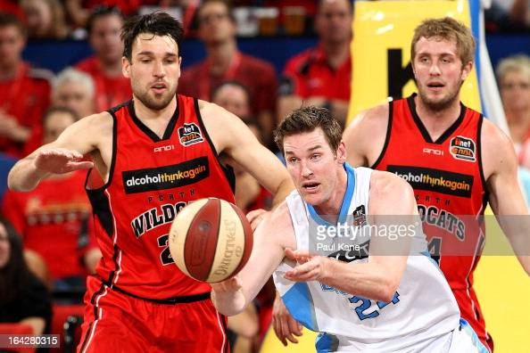 Dillon Boucher of the Breakers dishes the ball off during the round 24 NBL match between the Perth Wildcats and the New Zealand Breakers at Perth...