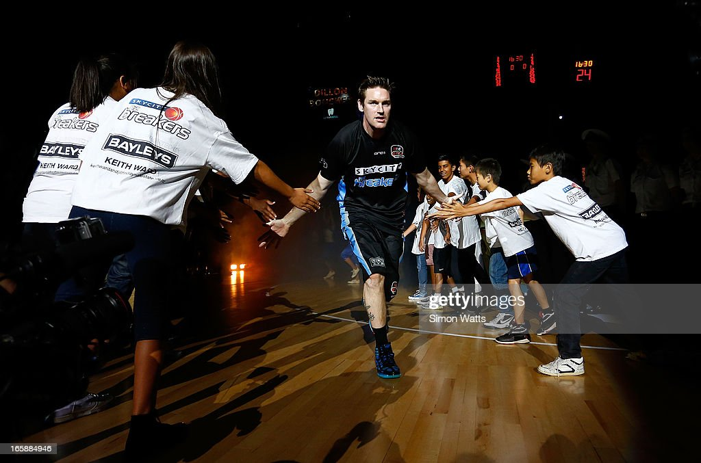 Dillon Boucher of The Breakers enters Vector Arena before the start of game one of the NBL Grand Final series between the New Zealand Breakers and...