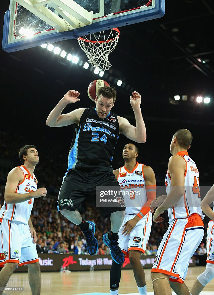 Dillon Boucher of the Breakers jumps for the rebound during the round 11 NBL match between the New Zealand Breakers and the Cairns Taipans at Vector Arena on December 13, 2012 in Auckland, New Zealand.