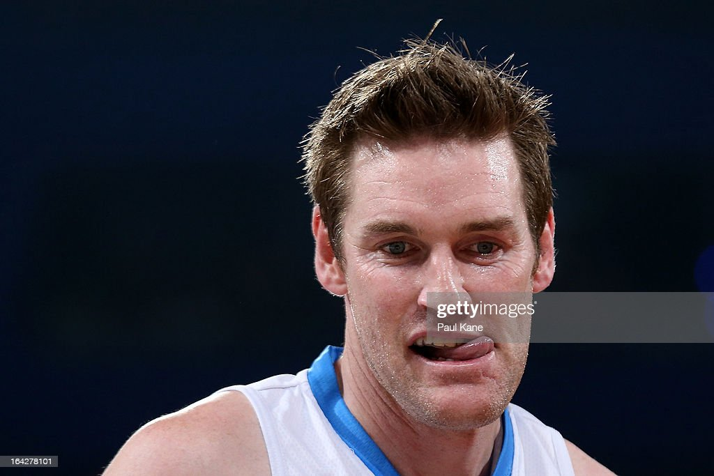Dillon Boucher of the Breakers looks on during the round 24 NBL match between the Perth Wildcats and the New Zealand Breakers at Perth Arena on March...