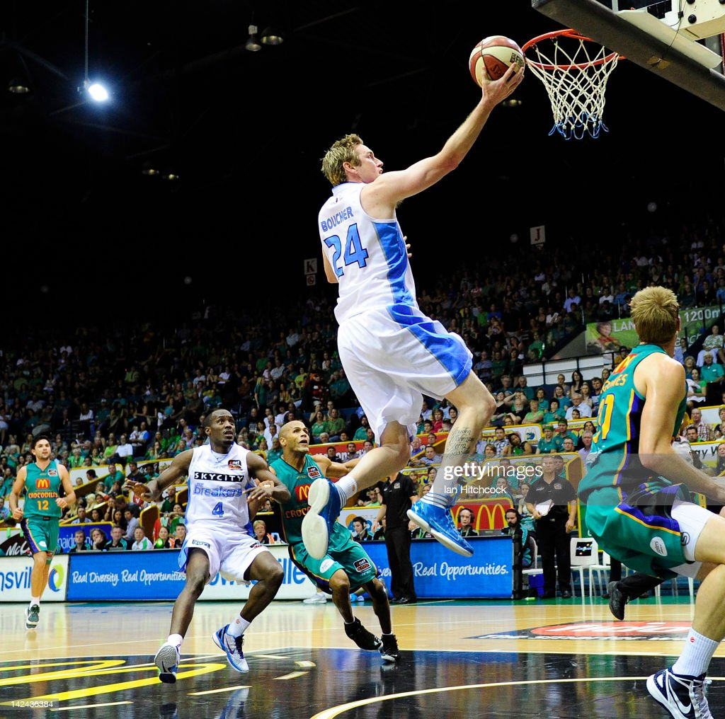 Dillon Boucher of the Breakers makes a layup during game two of the NBL Finals series between the Townsville Crocodiles and the New Zealand Breakers...