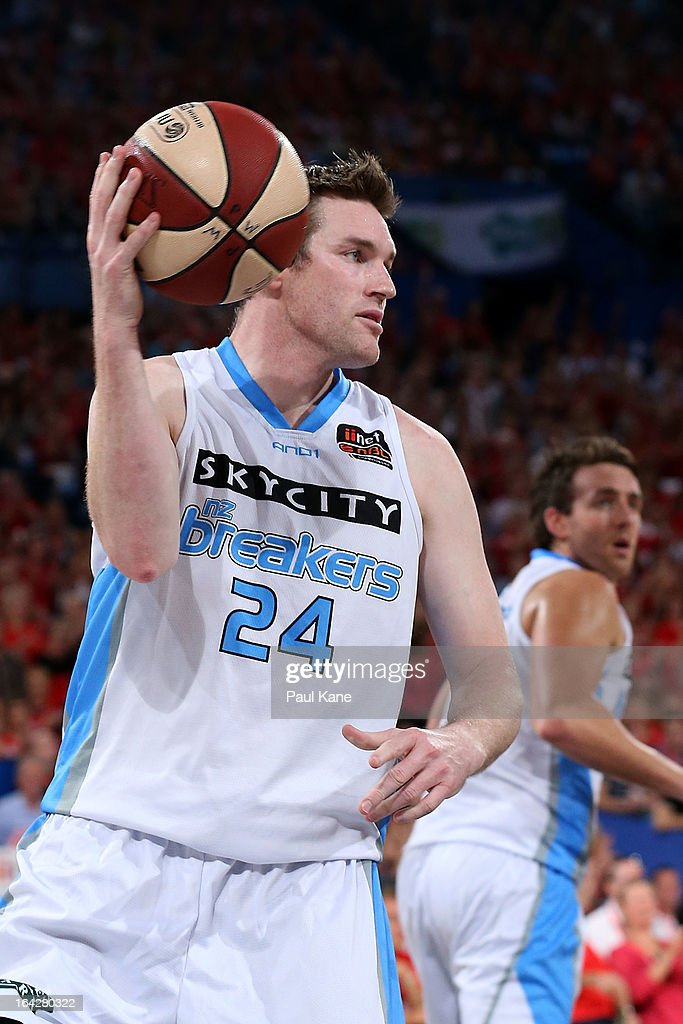 Dillon Boucher of the Breakers passes the ball during the round 24 NBL match between the Perth Wildcats and the New Zealand Breakers at Perth Arena...