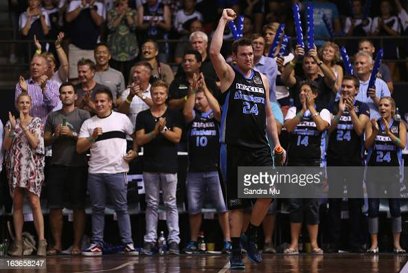 Dillon Boucher of the Breakers thanks his fans as he leaves the court during the round 23 NBL match between the New Zealand Breakers and the...