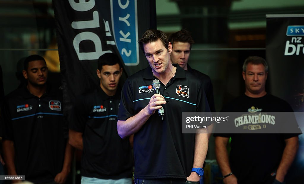 Dillon Boucher of the New Zealand Breakers speaks to fans during a homecoming celebration after winning the 2012/13 NBL Championship at Sky City on...