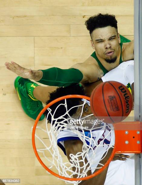 Dillon Brooks of the Oregon Ducks attempts to block a shot by Josh Jackson of the Kansas Jayhawks in the second half during the 2017 NCAA Men's...