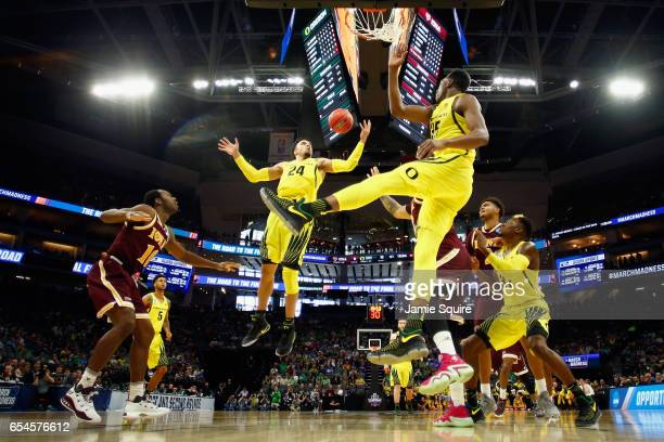 Dillon Brooks of the Oregon Ducks attempts to rebound the ball in the first half against the Iona Gaels during the first round of the 2017 NCAA Men's...