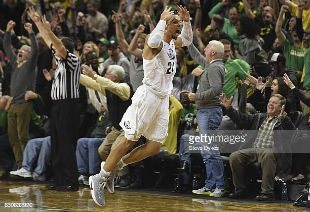 Dillon Brooks of the Oregon Ducks celebrates after hitting the game winning shot against the UCLA Bruins on December 28 2016 at Matthew Knight Arena...