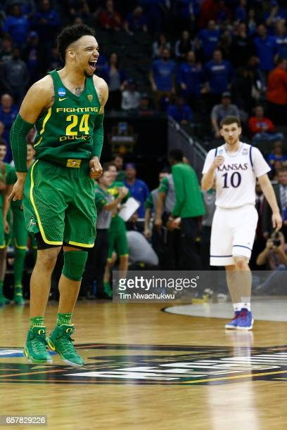 Dillon Brooks of the Oregon Ducks celebrates as time winds down during the 2017 NCAA Men's Basketball Tournament held at Sprint Center on March 25...