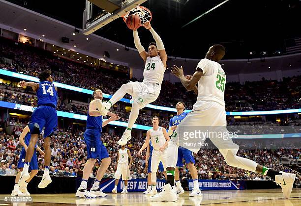 Dillon Brooks of the Oregon Ducks dunks the ball in the first half while taking on the Duke Blue Devils in the 2016 NCAA Men's Basketball Tournament...