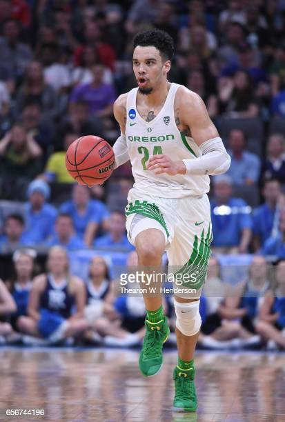Dillon Brooks of the Oregon Ducks handles the ball on offense against the Rhode Island Rams during the second round of the 2017 NCAA Men's Basketball...