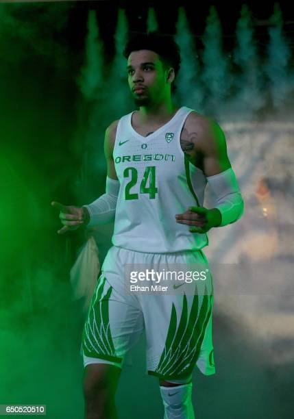 Dillon Brooks of the Oregon Ducks is introduced before a quarterfinal game of the Pac12 Basketball Tournament against the Arizona State Sun Devils at...