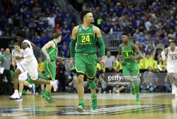 Dillon Brooks of the Oregon Ducks reacts in the second half against the Kansas Jayhawks during the 2017 NCAA Men's Basketball Tournament Midwest...