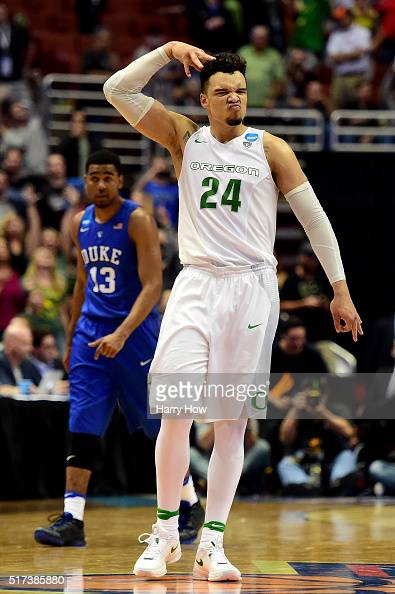 Dillon Brooks of the Oregon Ducks reacts late in the second half against the Duke Blue Devils n the 2016 NCAA Men's Basketball Tournament West...