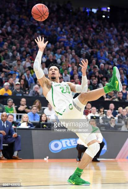 Dillon Brooks of the Oregon Ducks shoots an off balance shot against the Rhode Island Rams during the second round of the 2017 NCAA Men's Basketball...