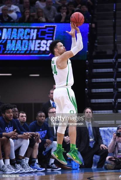Dillon Brooks of the Oregon Ducks shoots the ball against the Rhode Island Rams during the second round of the 2017 NCAA Men's Basketball Tournament...