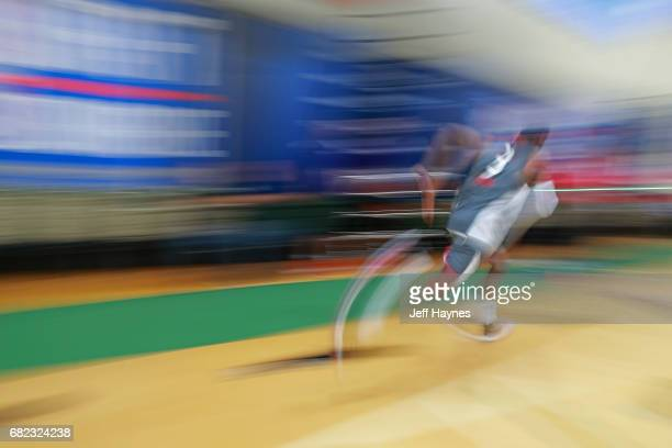 Dillon Brooks participates in the threequartercourt sprint during the NBA Draft Combine at the Quest Multisport Center on May 11 2017 in Chicago...