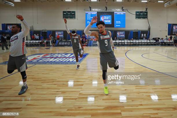 Dillon Brooks stretches during the NBA Draft Combine Day 2 at the Quest Multisport Center on May 12 2017 in Chicago Illinois NOTE TO USER User...
