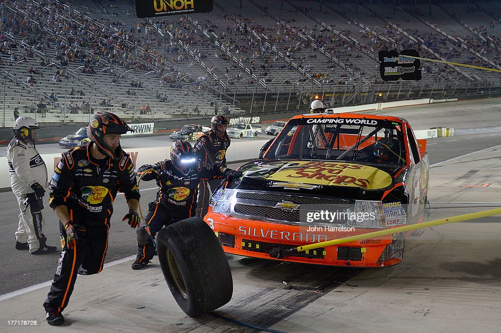 TY Dillon, driver of the #3 Bass Pro Shops/ Tracker Boats Chevrolet, makes a pits stop during the Camping World Truck Series UNOH 200 at Bristol Motor Speedway on August 21, 2013 in Bristol, Tennessee.
