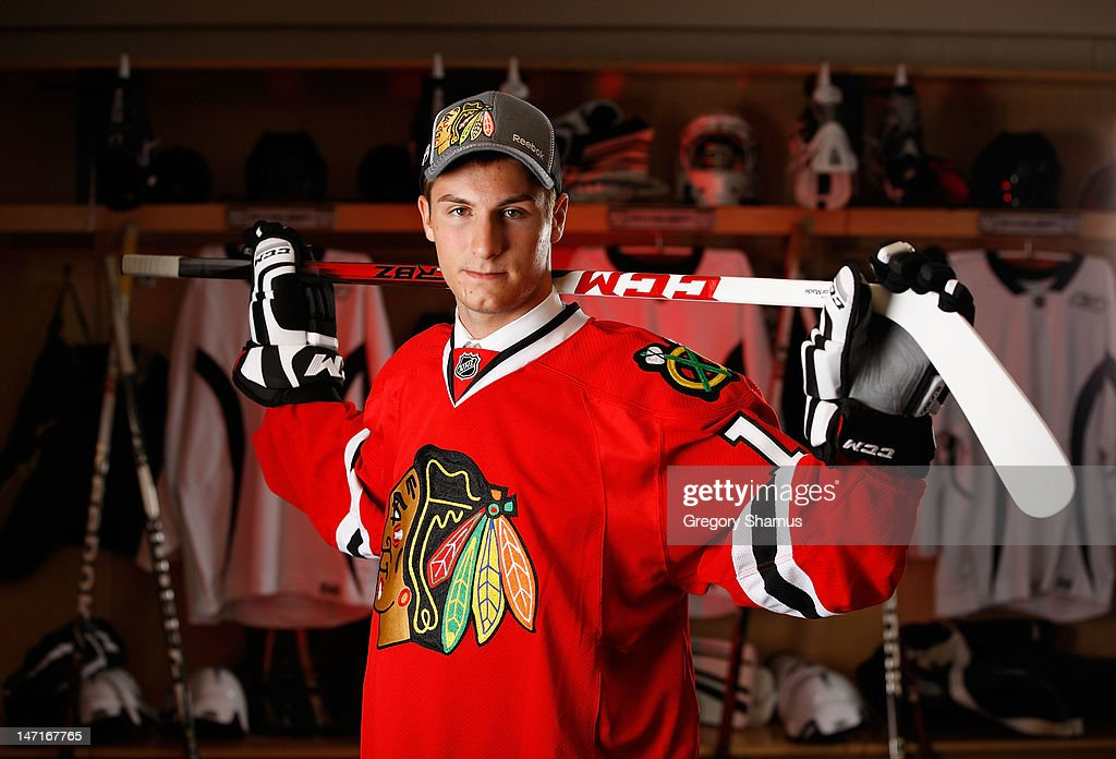 Dillon Fournier, 48th overall pick by the Chicago Blackhawks, poses for a portrait during the 2012 NHL Entry Draft at Consol Energy Center on June 23, 2012 in Pittsburgh, Pennsylvania.