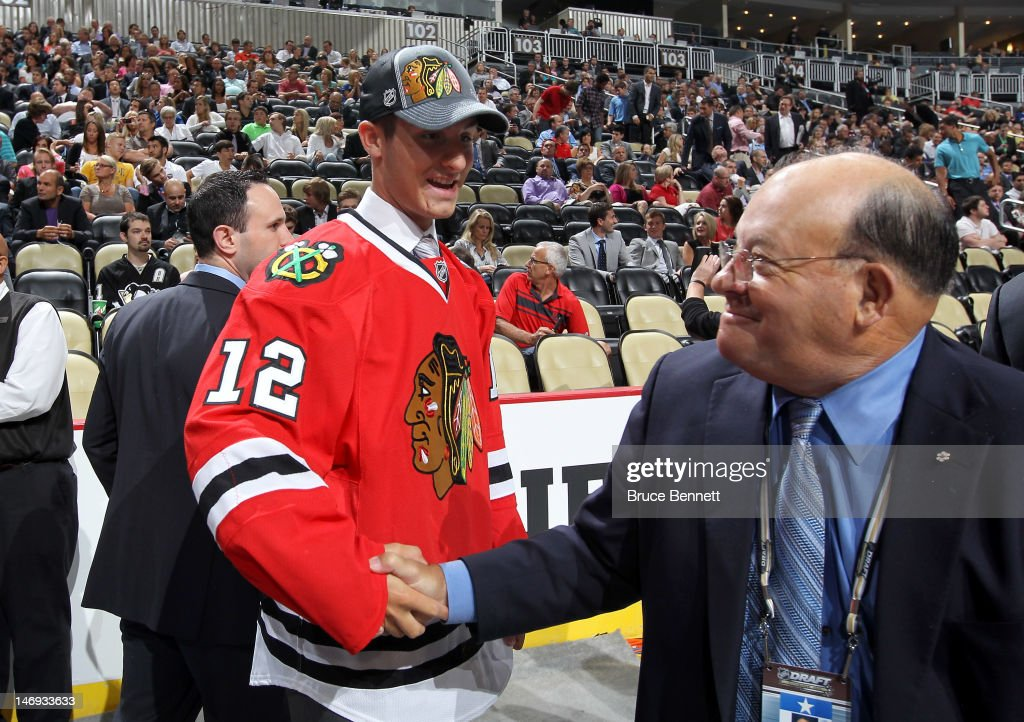 Dillon Fournier, 48th overall pick by the Chicago Blackhawks, shakes hands during day two of the 2012 NHL Entry Draft at Consol Energy Center on June 23, 2012 in Pittsburgh, Pennsylvania.