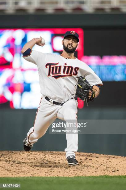 Dillon Gee of the Minnesota Twins pitches against the Texas Rangers on August 3 2017 at Target Field in Minneapolis Minnesota The Rangers defeated...