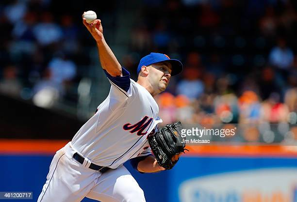 Dillon Gee of the New York Mets in action against the Washington Nationals at Citi Field on June 29 2013 in the Flushing neighborhood of the Queens...