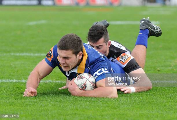 Dillon Hunt of Otago dives to score a try during the round four Mitre 10 Cup match between Hawke's Bay and Otago at McLean Park on September 10 2017...