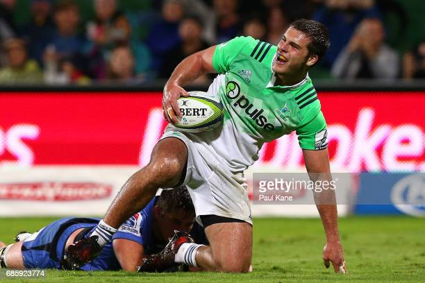Dillon Hunt of the Highlanders looks on after crossing for a try during the round 13 Super Rugby match between the Force and the Highlanders at nib...