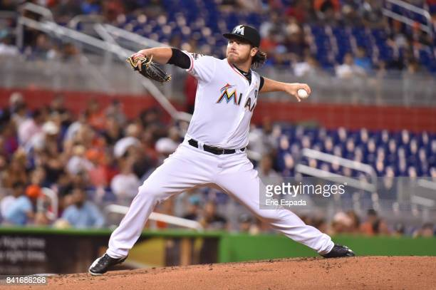 Dillon Peters of the Miami Marlins throws a pitch during the first inning against the Philadelphia Phillies at Marlins Park on September 1 2017 in...