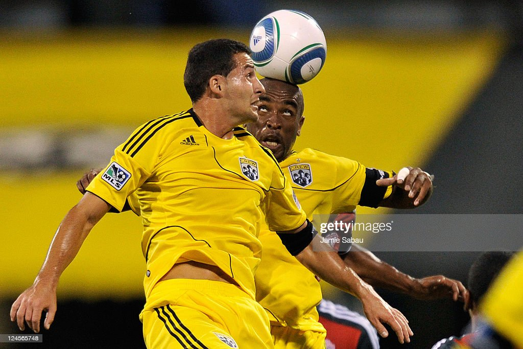 Dilly Duka #11 of the Columbus Crew and Emilio Renteria #20 take control of the ball in the first half against Toronto FC on September 10, 2011 at Crew Stadium in Columbus, Ohio. Toronto FC defeated Columbus 4-2 to take the Trillium Cup for the first time.