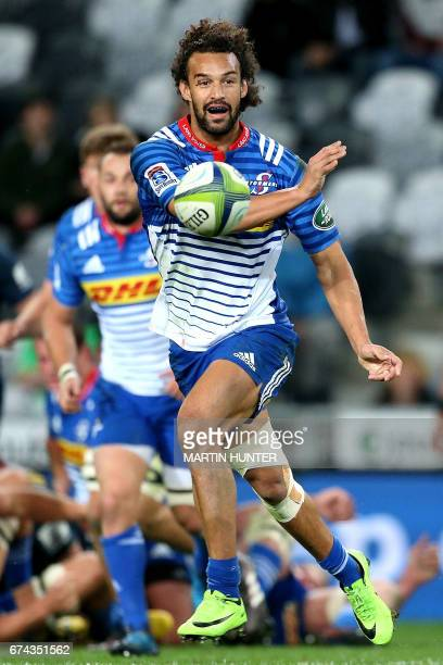 Dillyn Leyds of the Western Stormers looks to pass during the Super Rugby match between the Otago Highlanders of New Zealand and the Western Stormers...