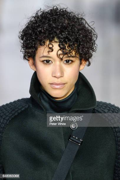 Dilone beauty detail walks the runway during the Akris show as part of the Paris Fashion Week Womenswear Fall/Winter 2017/2018 on March 5 2017 in...