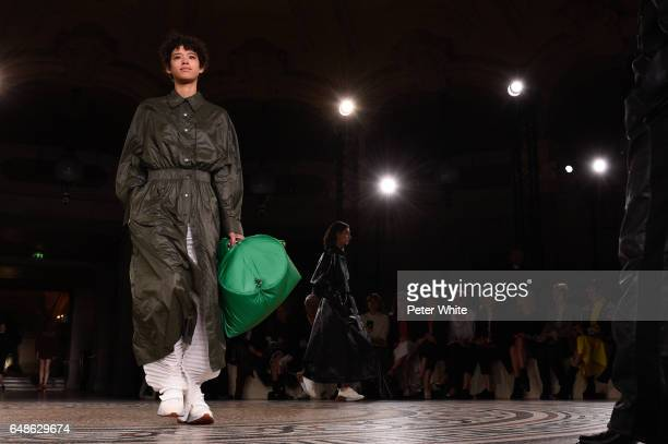 Dilone general view walks the runway during the Stella McCartney show as part of the Paris Fashion Week Womenswear Fall/Winter 2017/2018 on March 6...