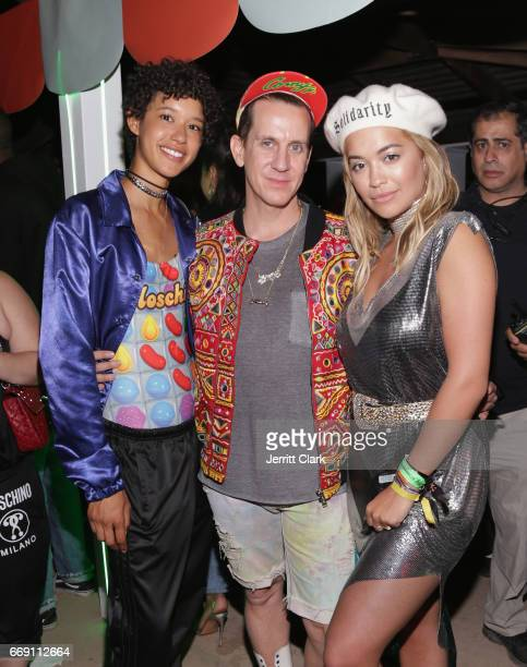 Dilone Jeremy Scott and Rita Ora attend the Moschino Candy Crush Desert Party hosted by Jeremy Scott on April 15 2017 in Coachella California