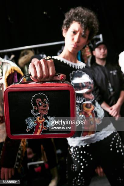 Dilone poses backstage at Jeremy Scott Fall/Winter 2017 Show during New York Fashion Week at Gallery 1 Skylight Clarkson Sq on February 10 2017 in...
