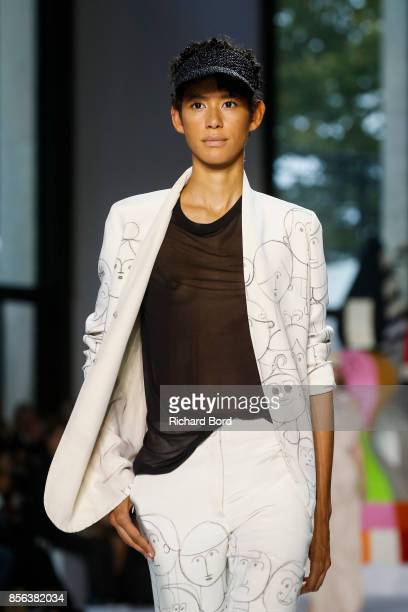 Dilone walks the runway during the Akris show at Palais de Tokyo as part of Paris Fashion Week Womenswear Spring/Summer 2018 on October 1 2017 in...