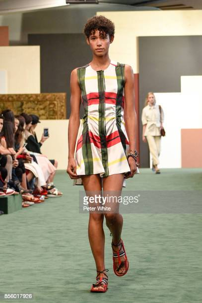 Dilone walks the runway during the Carven show as part of the Paris Fashion Week Womenswear Spring/Summer 2018 on September 28 2017 in Paris France