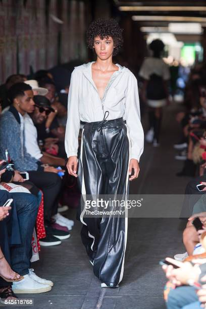 Dilone walks the runway during the Public School runway show during New York Fashion Week at the Canel Arcade on September 10 2017 in New York City
