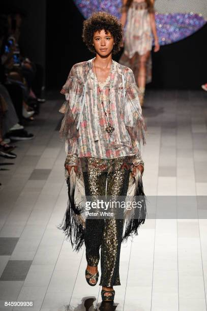 Dilone walks the runway for Anna Sui fashion show during New York Fashion Week The Shows at Gallery 1 Skylight Clarkson Sq September 11 2017 in New...